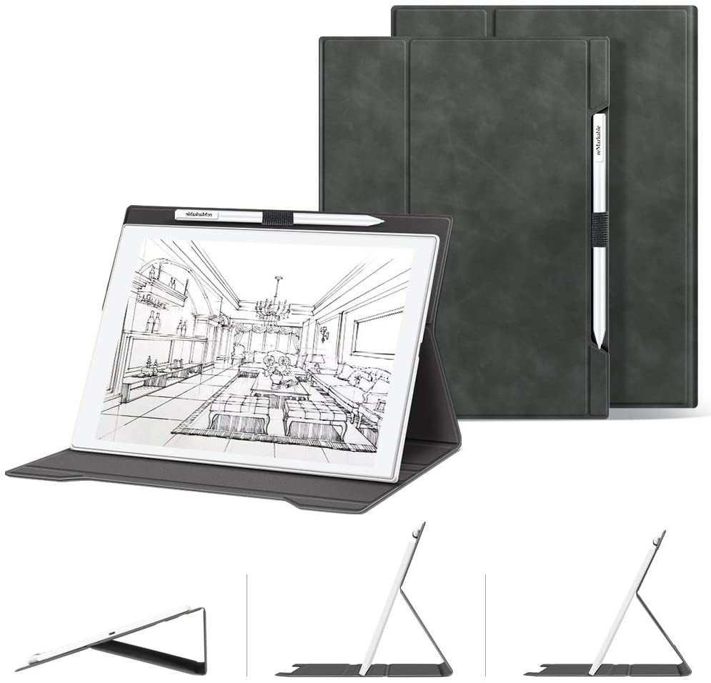 Skin-Friendly Folding Case for Remarkable Paper Tablet 10.3,Premium PU Leather Lightweight Smart Cover with Pencil Holder and Multiple Viewing Angles for Remarkable Digital Paper