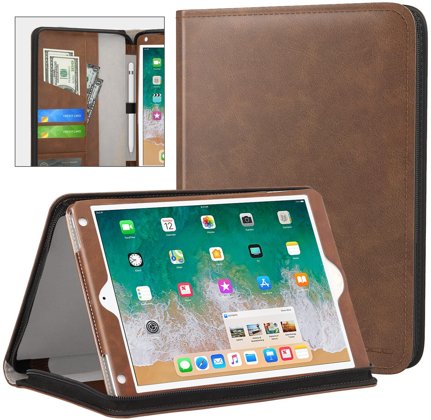 MoKo Case Fit 2018/2017 iPad 9.7 6th/5th Generation/iPad Air/iPad Air 2 Tablet, Genuine Executive Portfolio Case Slim Folding Stand Cover with Document Card Slots, Brown