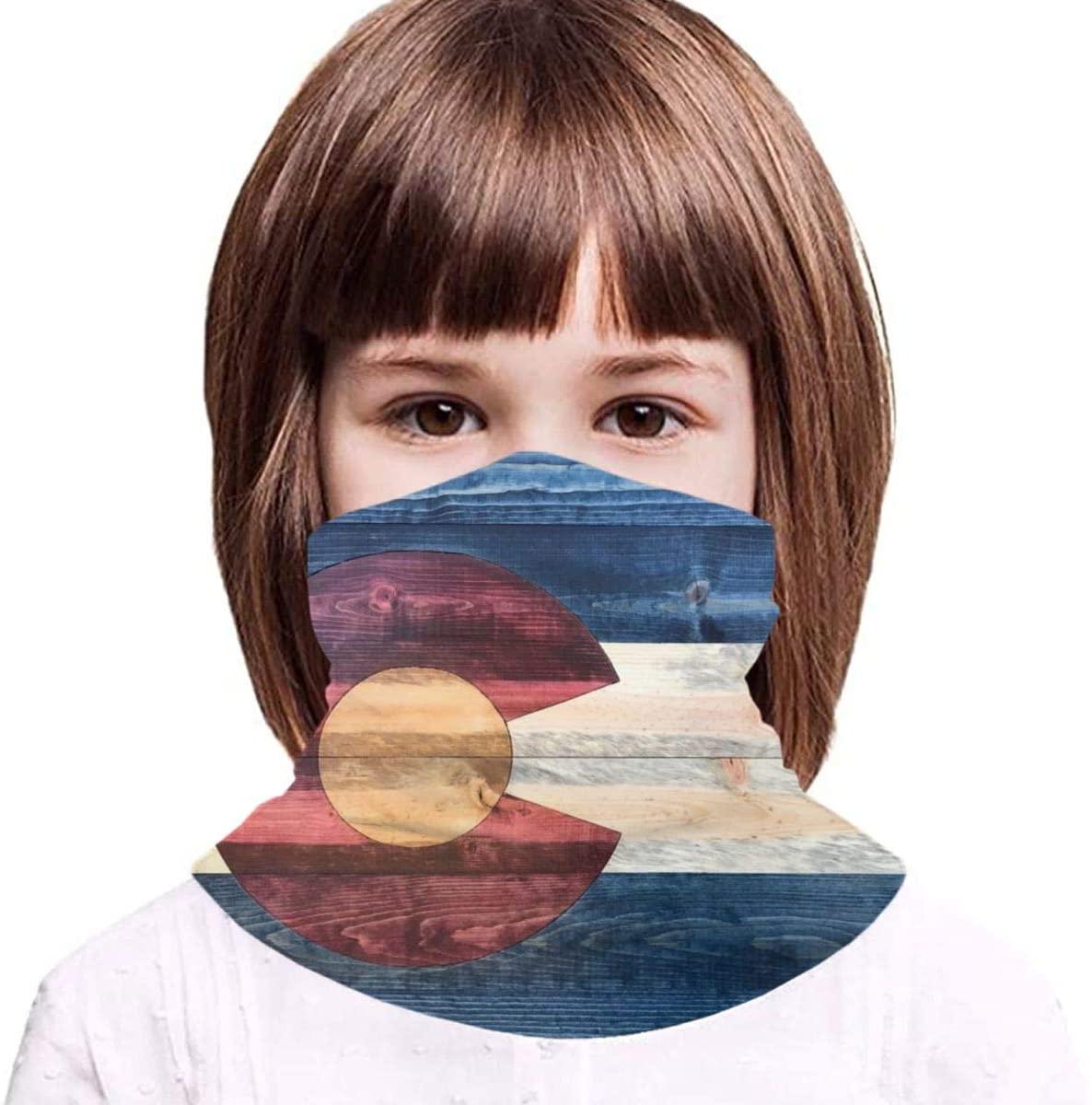 Boys Girls Face Mask Rustic Wood Colorado State Flag Kids Headband Cover Children Headwear Bandana Towel Neck Gaiter