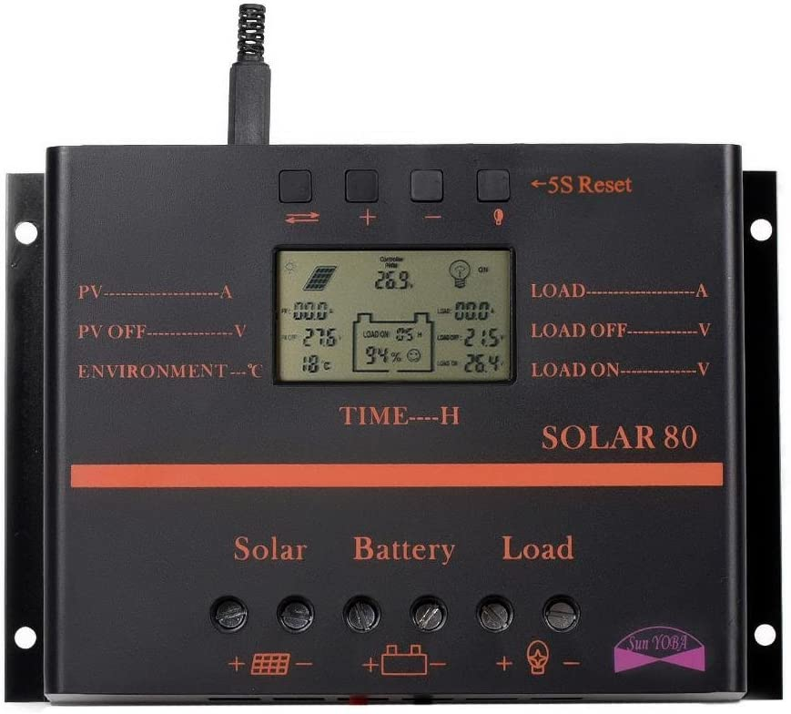 Sun YOBA Solar Charge Controller 80A PWM Solar Battery Panel Charger Discharge Regulator with USB Port