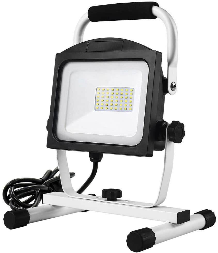Applighting Work Light, 50W LED Outdoor Camping Lights, 5000LM Flood Light Outdoor with Plug, 5000K White Light, Super Bright Job Site Lights for Garden, Garage, Workshop, Yard