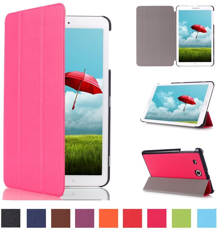 Asng Galaxy Tab E 9.6 Case - Ultra Slim Tri-Fold Case Cover for Samsung Tab E/Tab E Nook 9.6-Inch Tablet (SM-T560 / T561 / T565 / SM-T567V Verizon 4G LTE) (Rose red)
