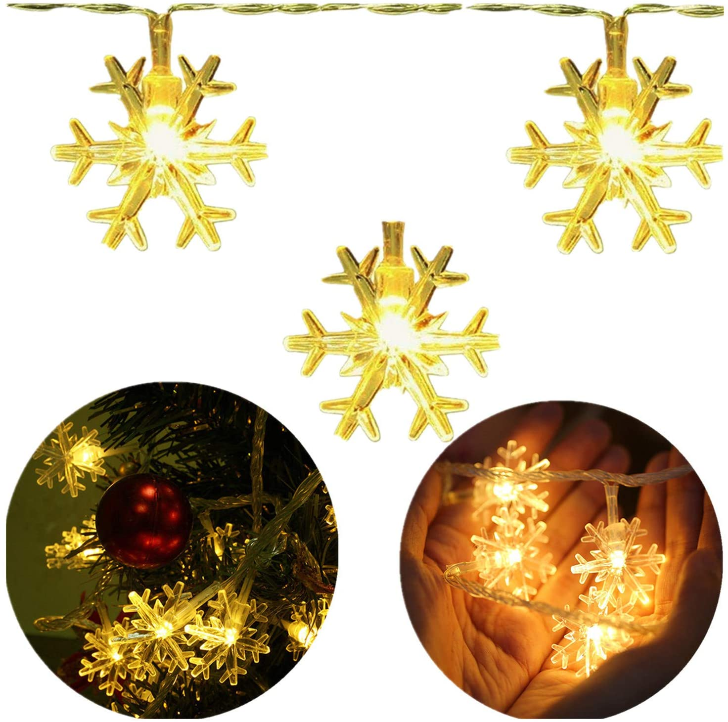 INFILILA Snowflake Led String Lights 33ft/100 LEDs Plug In Indoor & Outdoor Christmas Lights With 8 Changing Model Waterproof Decorative Lights for Bedroom, Patio, Garden, Gate,Yard,Party (Warm White)