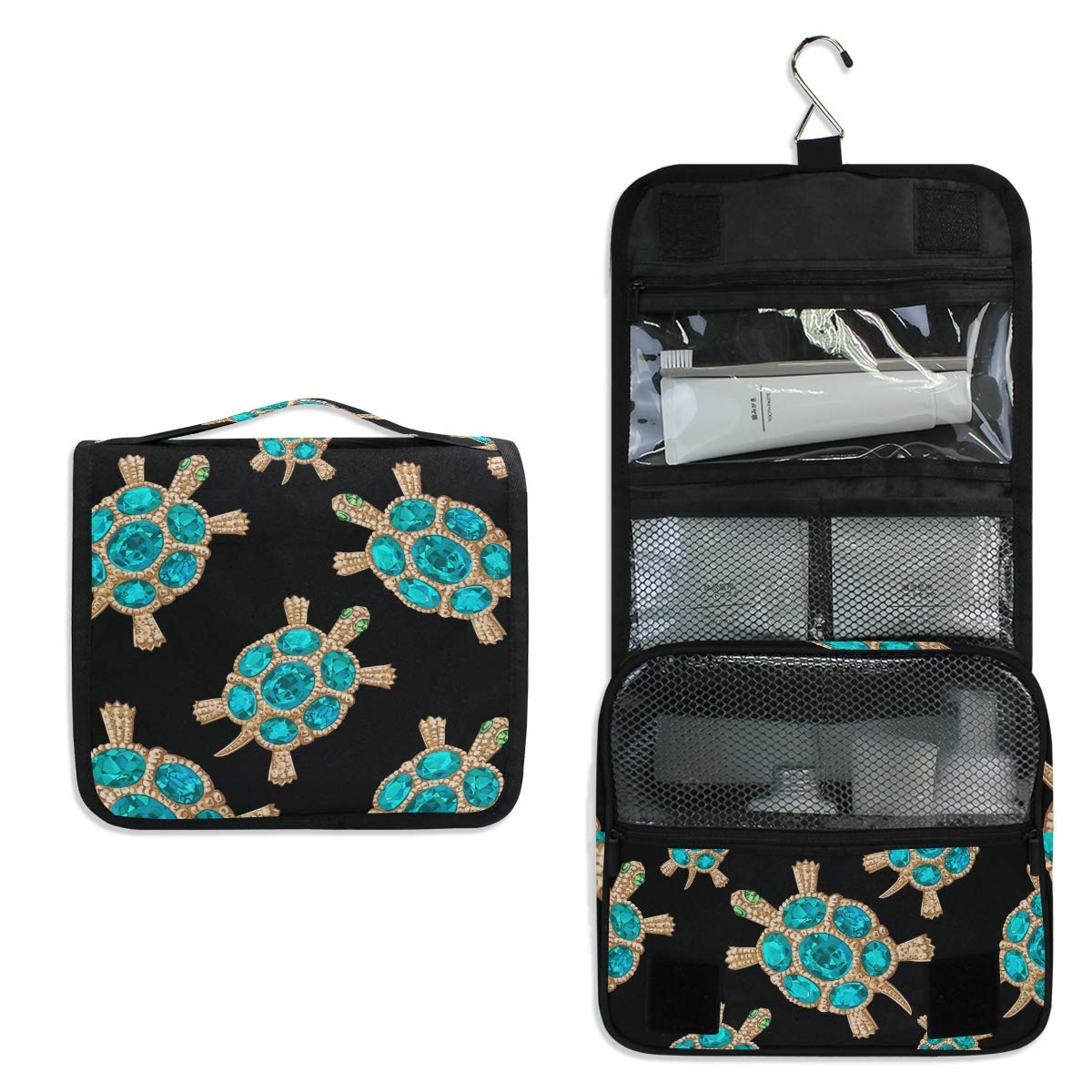 Hanging Travel Toiletry Bag - Jewelry Turtle Waterproof Cosmetic Bag Portable Makeup Pouch for Bathroom Toiletries