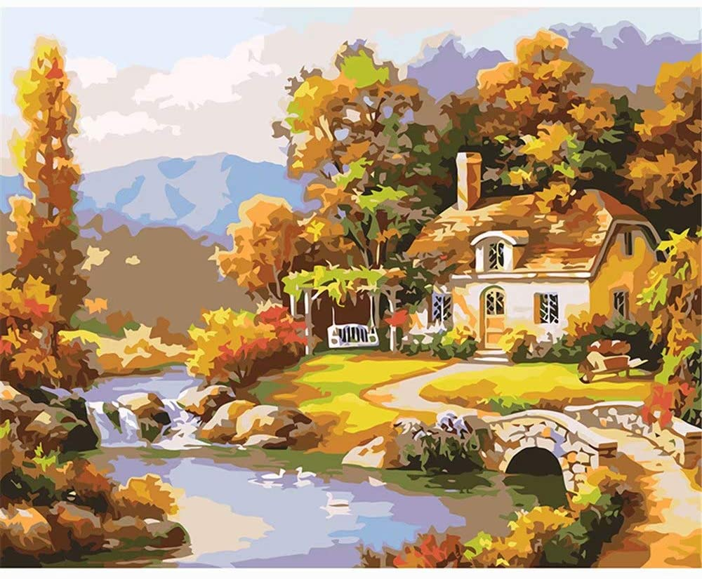 DIY Oil Painting Paint by Number Kit for Adult Kids -16X20 Inch,Yellow Forest House