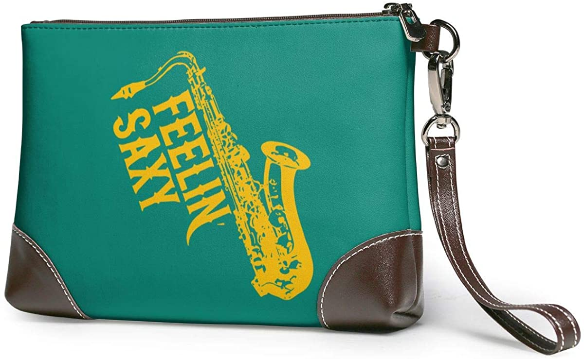 Saxy Funny Saxophone Music Leather Wristlet Clutch Bag Zipper Handbags Purses For Women Phone Wallets With Strap Card Slots