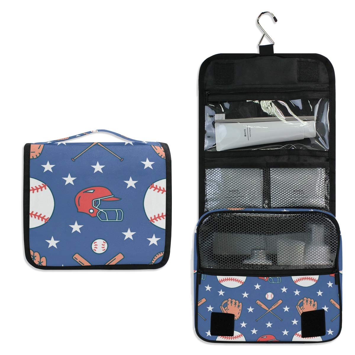 Toiletry Bag Travel Bag Hanging Hook - Baseball Softball Sport Game Waterproof Cosmetic Bag Portable Makeup Pouch for Girls Men Women