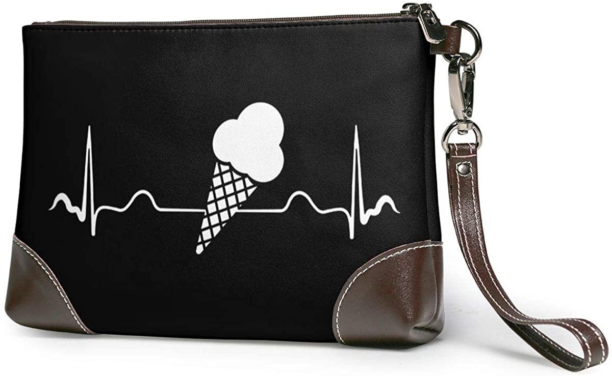 Ice Cream Heartbeat. Leather Clutch Fashion Handbag Phone Wristlet Purse
