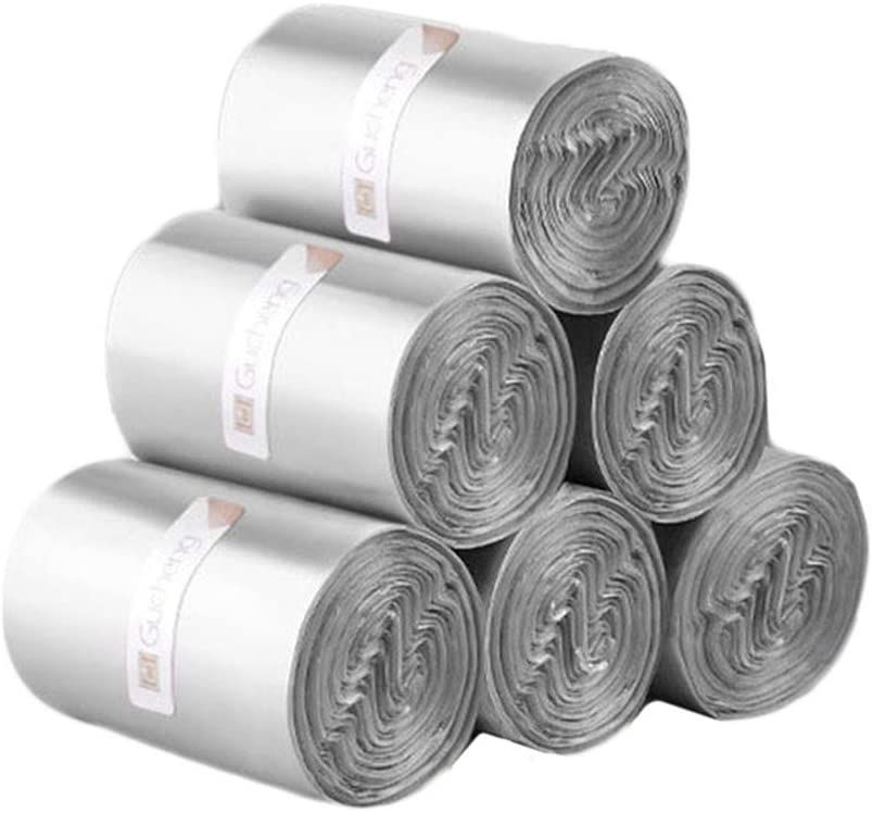 vmree 10μm Thick Disposable Trash Bags, 6 Rolls,240pcs Food Scrap Small Kitchen Trash Bags, Household Waste Bag Refills Garbage Bags for Home Office Kitchen (Gray)