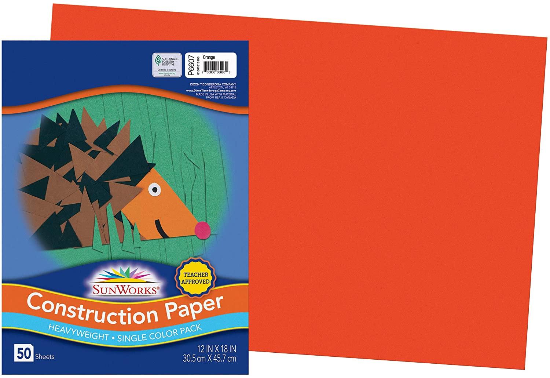 SunWorks Construction Paper, Orange, 12