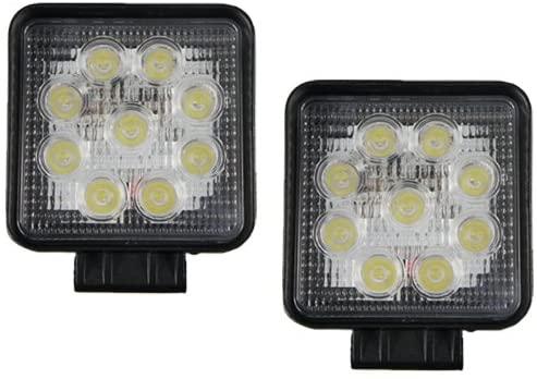 TMH 27w Square Shape 30 Degree LED Work Light Spot Lamp Driving Light, Off-Road, 4wd, Utv, ATV, SUV, Motorcycle, Bus, Trailer, Truck, Camping, Boat, Yacht, Tractor, Street Light, Fog Lamp Pack of 2