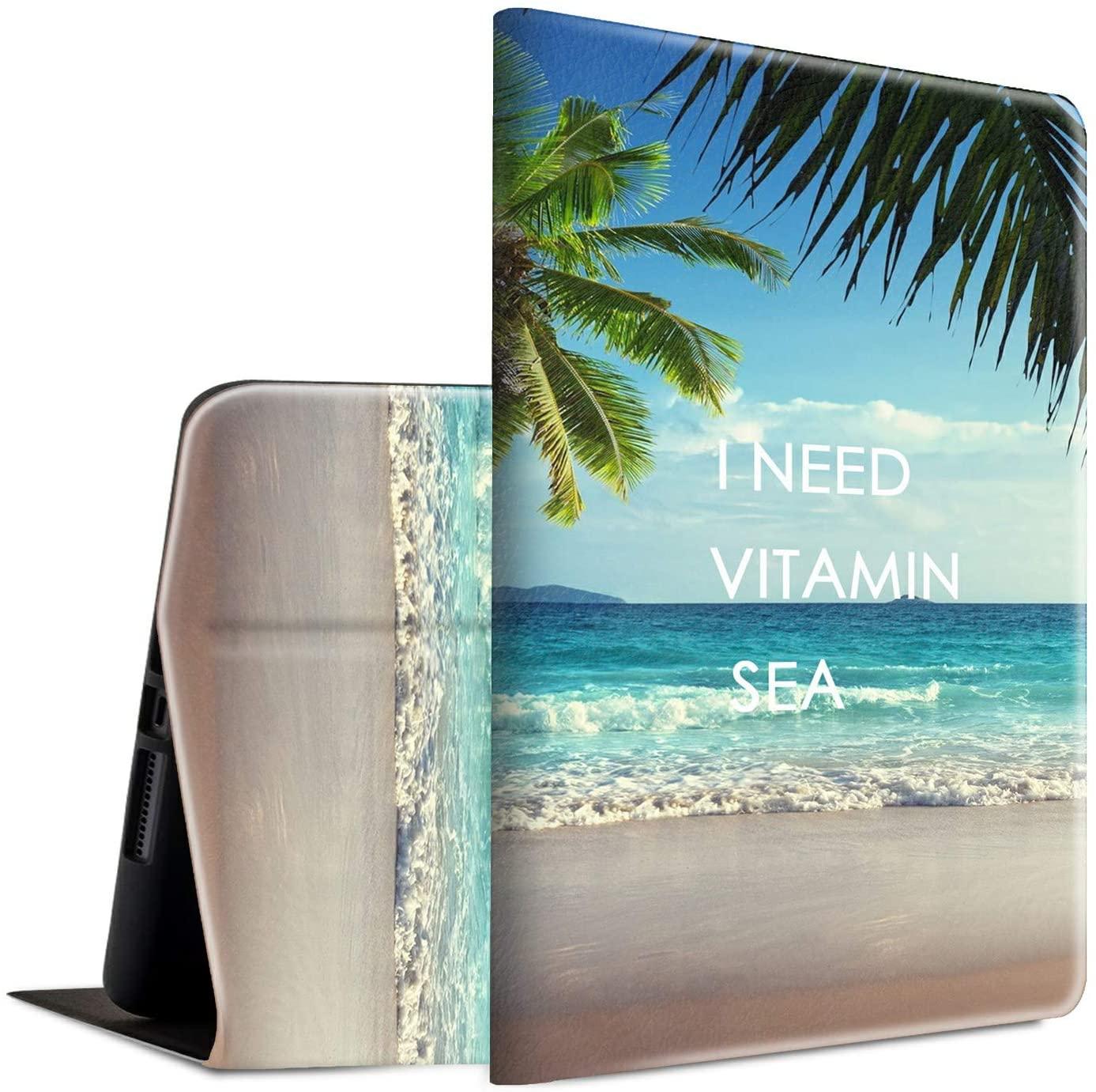 New iPad Pro 11 Case 2020, Spsun Lightweight PU Leather Folio Adjustable Stand with Auto Wake/Sleep Smart Protect Case for Apple iPad Pro 11 inch 2nd Generation - I Need Vitamin Sea Palm Tree