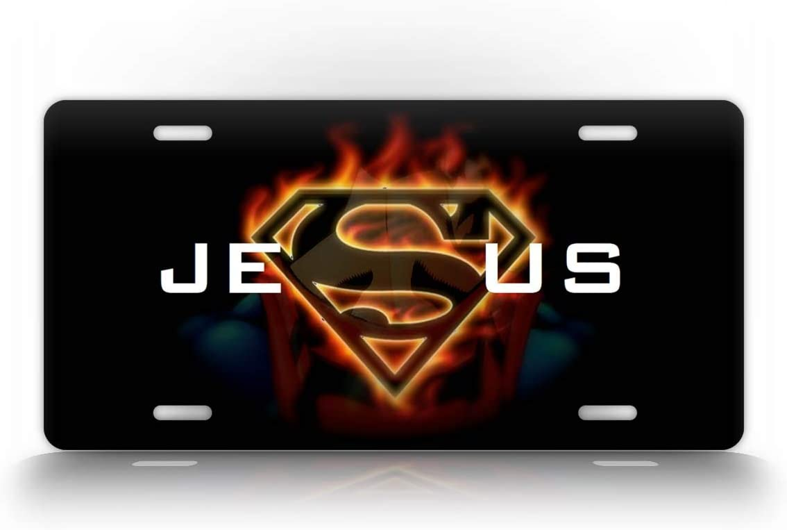 SignsAndTagsOnline Jesus Superhero License Plate Christian Novelty Superman Auto Tag