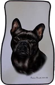 Black French Bulldog Car Floor Mats - Carepeted All Weather Universal Fit for Cars & Trucks