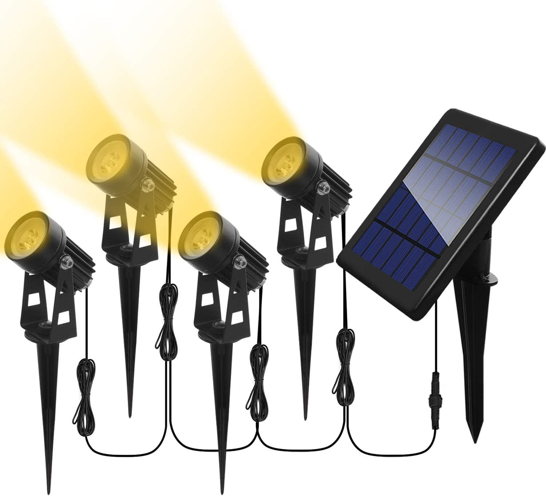 Otdair Solar Spotlights Outdoor, Led Solar Powered Landscape Lights 4 in 1 Bright Warm White Lights IP65 Waterproof Adjustable Head Light for Path Garden Yard Patio Lawn(4 Packs)