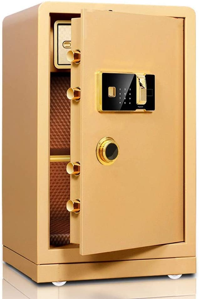 PUEEPDEE Safe Box Solid Steel Biometric Fingerprint Fireproof Safe and Waterproof Safe for Home Safe Box for Money (Color : Gold, Size : 60x40x36cm)