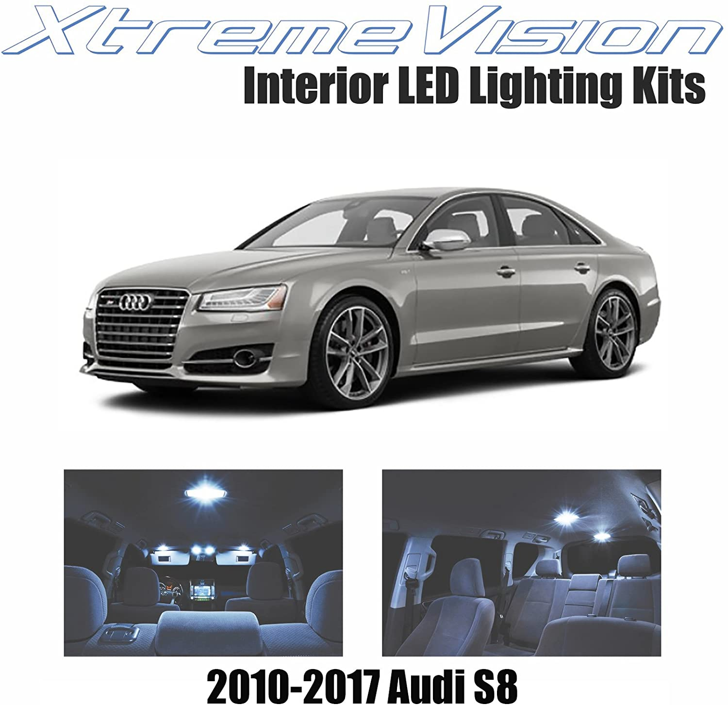 XtremeVision LED for Audi S8 2010-2017 (16 Pieces) Cool White Premium Interior LED Kit Package + Installation Tool