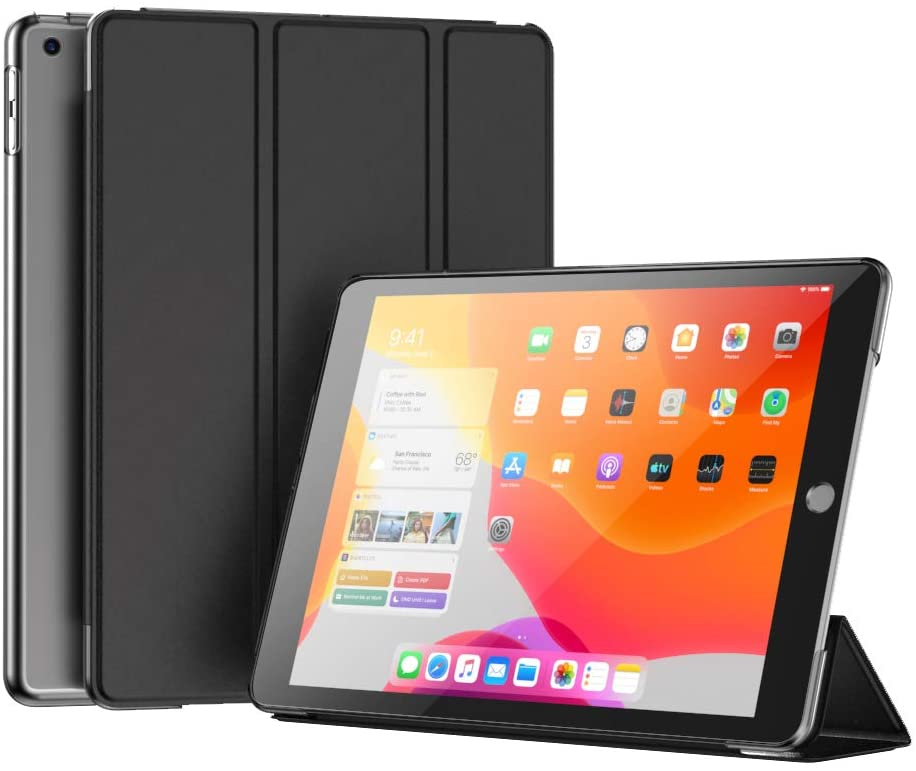 CangHua Case for Apple iPad 7 10.2-Inch 2019 Model 7th Generation Auto Wake/Sleep Trifold Slim Stand Hard Back Shell Protective Smart Cover Case for iPad 7th Gen 10.2 Inch 2019 -Black
