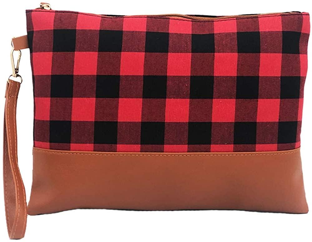 Auony Buffalo Plaid Wristlet Wallet Clutch Bag Phone Purse Handbag with Leather Wrist Strap