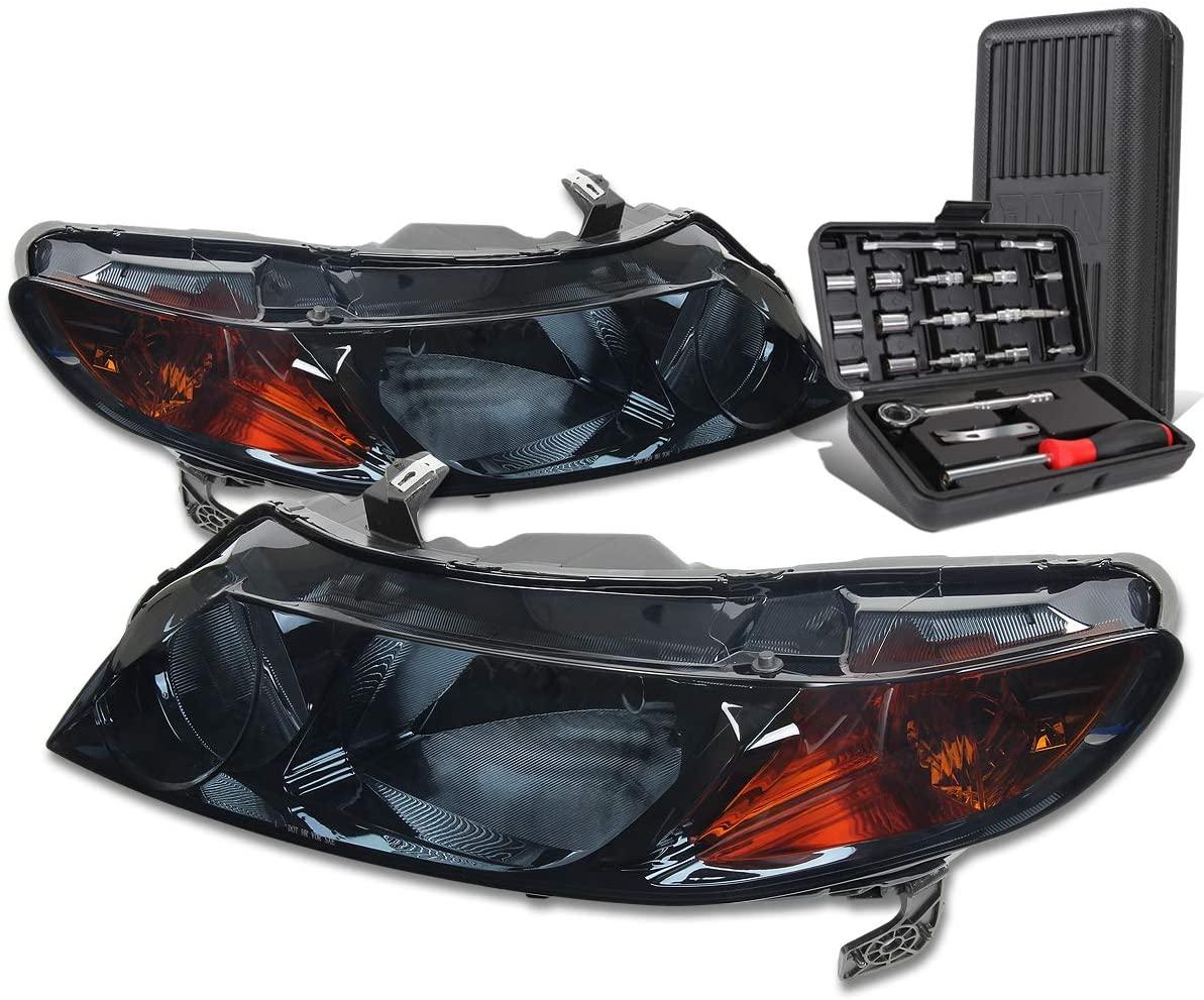 Smoked Housing Amber Corner Headlgiht Head Lamps+Tool Kit Replacement for Honda Civic Sedan 06-11