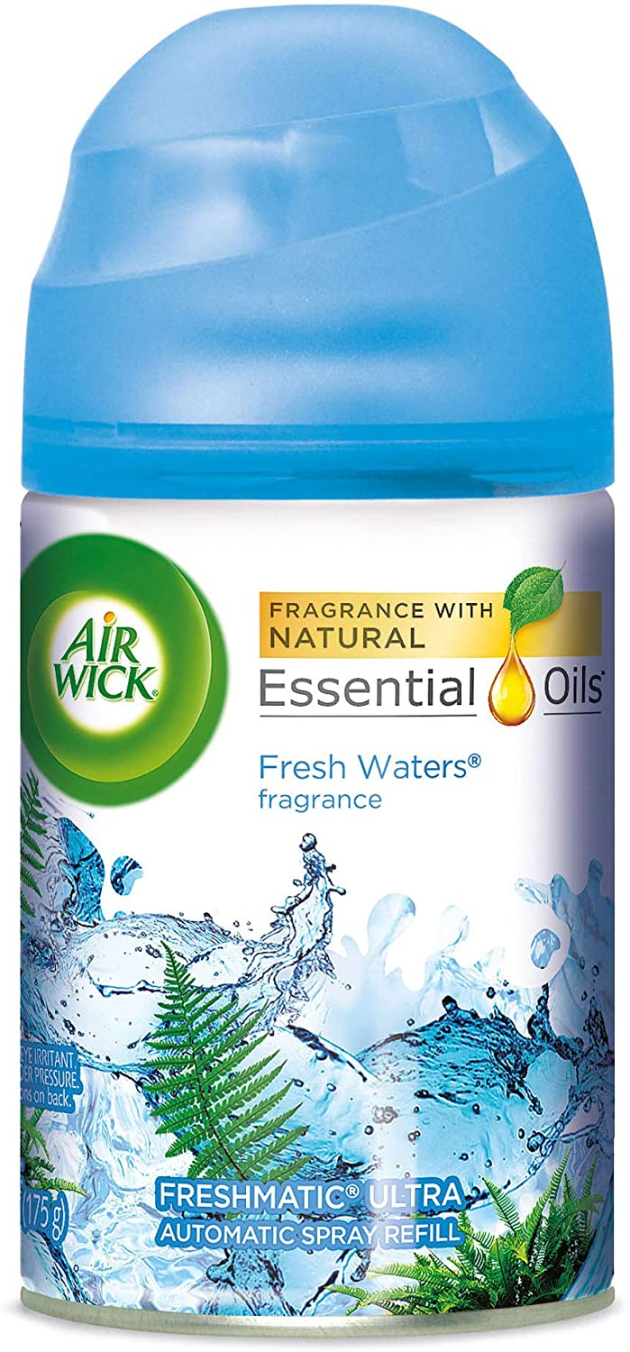 Air Wick Freshmatic Automatic Spray Air Freshener, Fresh Waters Scent, 1 Refill, 6.17 Ounce (Pack of 8)