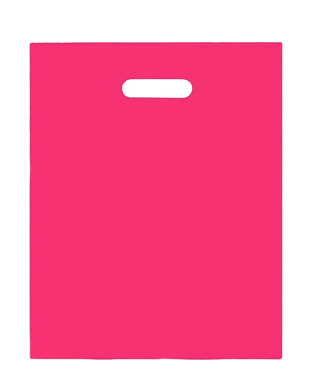 100 Merchandise Bags 9x12 Fuchsia, Die Cut Handles, No Gusset, Strong, Durable, and Tear Resistant Bags Perfect for Retail, Boutiques or Events