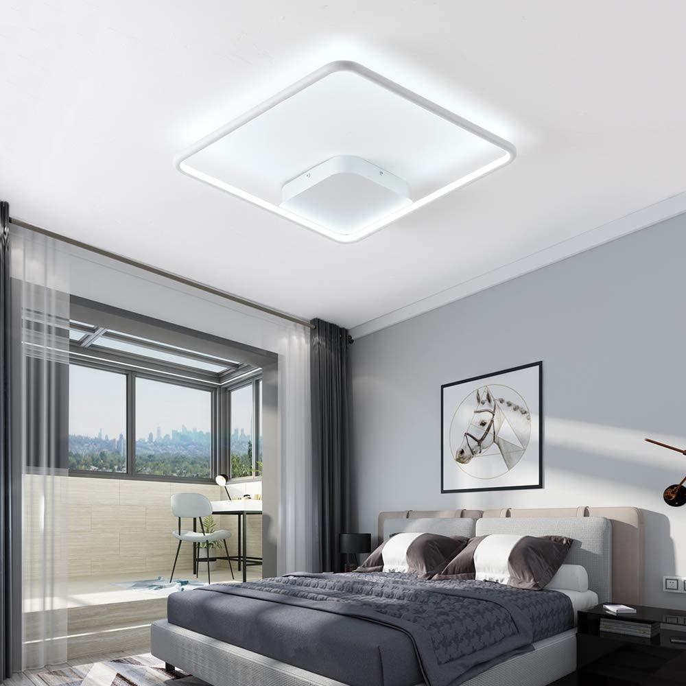 WELAKI 29W Flush Mount Ceiling Light Fixture, 17.7-inch Modern Surface Mount LED Light Fixture, 6000K Square LED Ceiling Lamp for Kitchen Bedroom Laundry Closet Room Bathroom Hallway (White Shell)