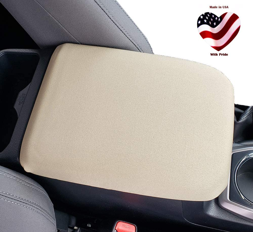 Car Console Covers Plus Made in USA Neoprene Auto Armrest Center Console Cover Designed for Audi A6 2019-2020 Tan
