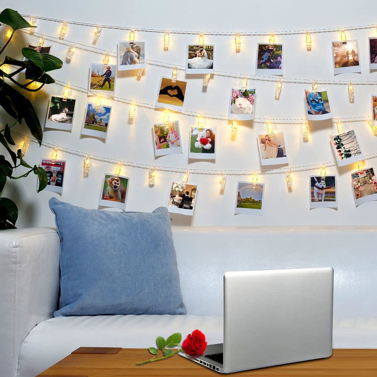 Jokmae 40 LED Photo Clips String Lights – 8 Modes Wall Hanging Clothespin Picture Display Peg Card Holder, Birthday Mothers Day Proposal Wedding Party Decorations Gifts, Girls School Dorm Room Décor