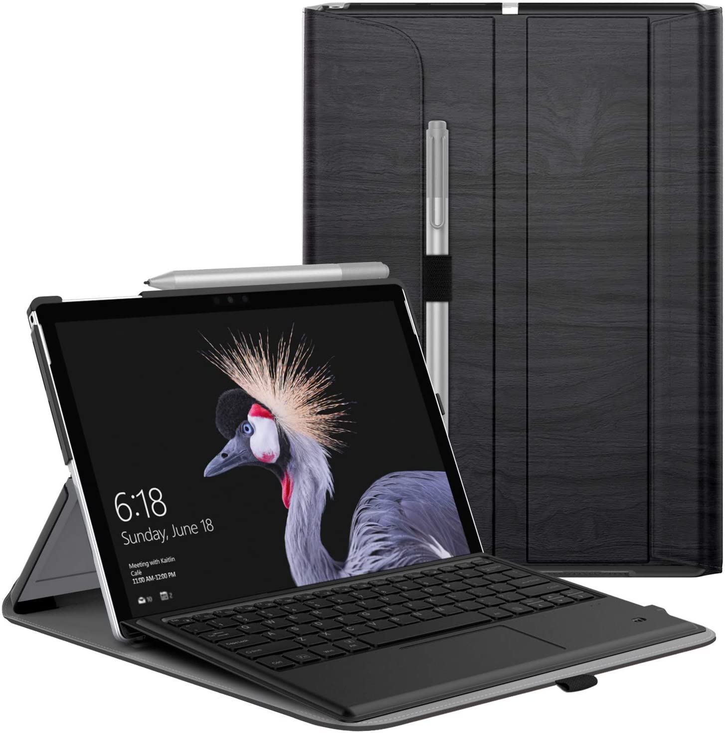 MoKo Case Fit Microsoft Surface Pro 7/Pro 6, Ultra Lightweight Portfolio Business Cover with Pen Holder for Surface Pro 7/6/5/4/Pro LTE/Pro 2017, Compatible with Type Cover Keyboard - Dark Wood Grain