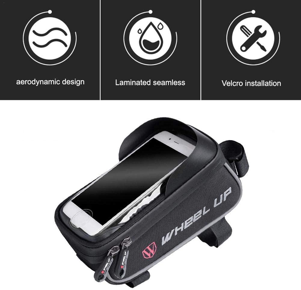 Bike Frame Bag Road Bike Accessories, Bike Bag Waterproof Bike Top Tube Pouch Bag Bicycle Large Capacity Storage Bag with Earphone Hole for Any Smart Phone Below 6 Inch