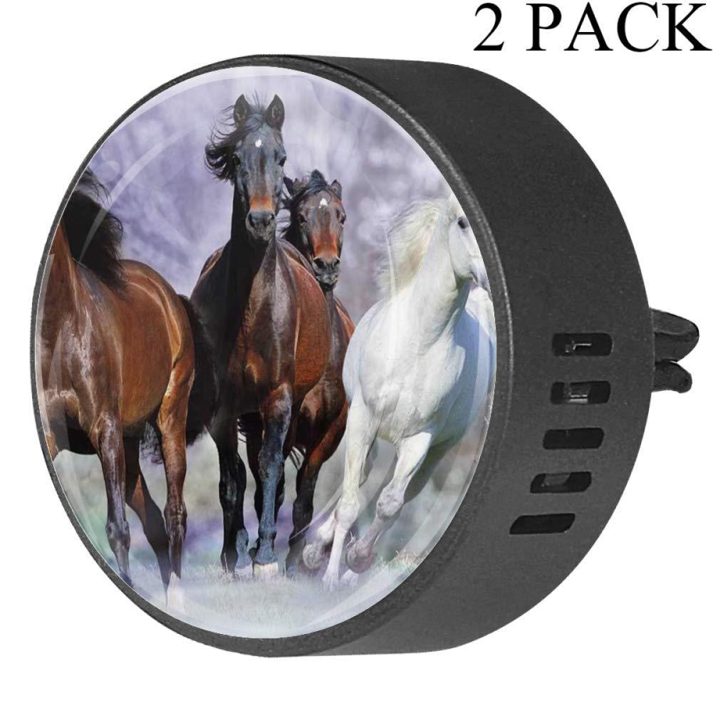 Beautiful Horses Galloping Car Diffuser Vent Clip Healthy Certification EVA Car Air Freshener 2 Pack, Frangipani