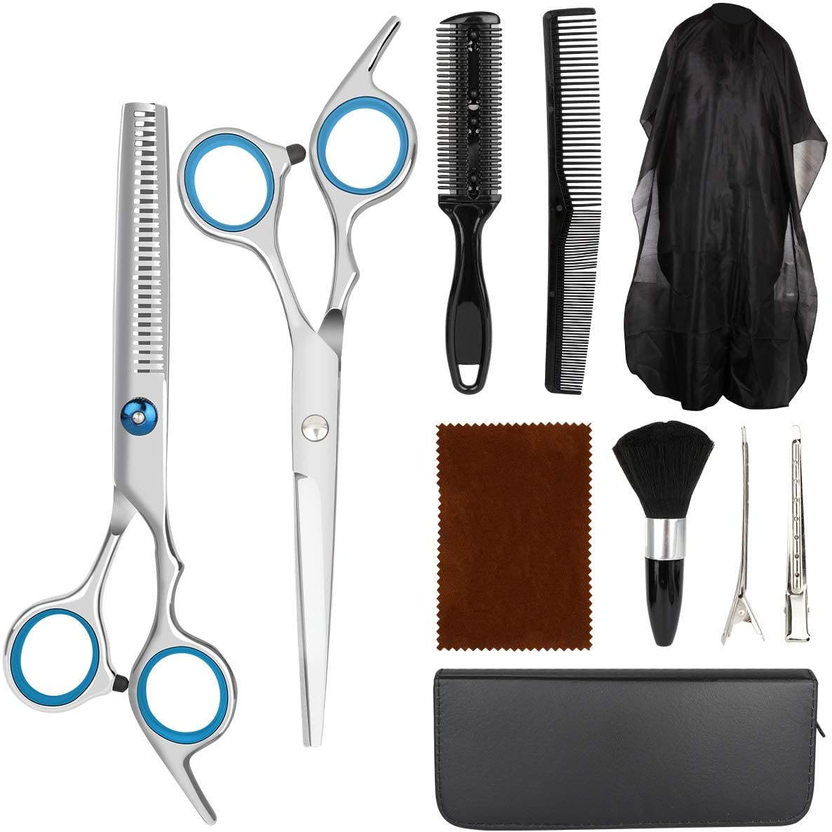 Hair Cutting Scissors Kit, MseTin 10 PCS Professional Stainless Steel Haircut Shears with Hair Cutting Scissors Set for Salon, Barber and Family