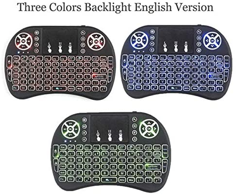 Calvas i8 Wireless Keyboard 2.4 GHz Russian or English Letters Multi-Media Backlight Air Mouse Remote Control Touchpad for X96 mini - (Color: i8 3color english)