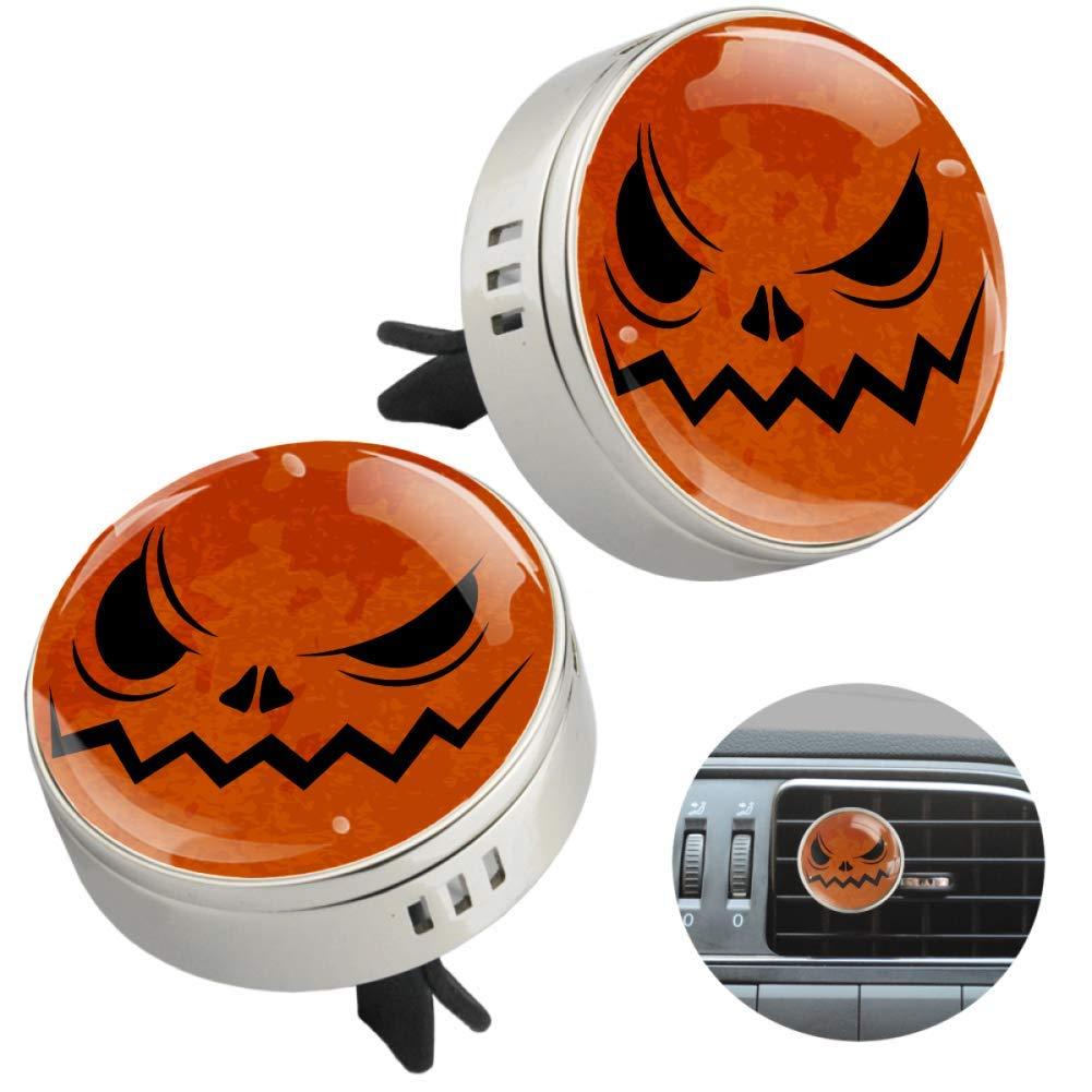 Halloween Pumpkin Face 2 PCS Car Aromatherapy Vent Clip Essential Oil Diffuser Car Air Freshener