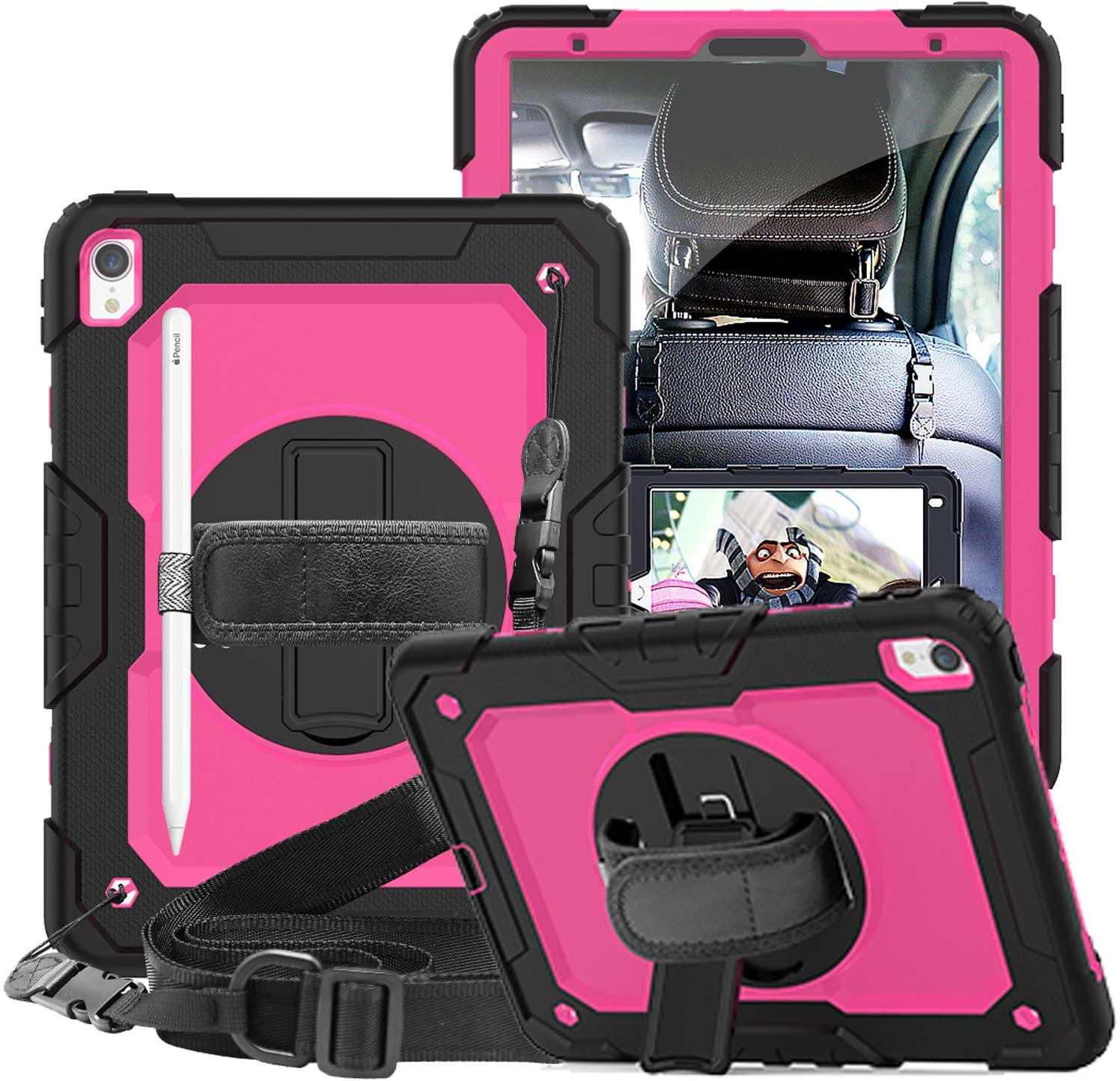 SUPSTRO iPad Pro 11 Case 2018 with Pencil Holder,Built-in Kickstand,Elastic Hand Strap and Shoulder Strap,Full Body Shockproof Protective Case for iPad Pro 11 inch 2018 Pink