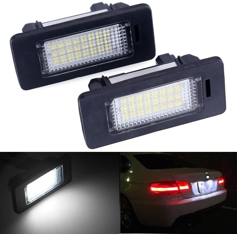 2pcs Car License Plate Light for BMW 1 3 5 X Series Error Free 3W 24 Led White Rear License Tag Lights Rear Number Plate Lamp Direct Replacement X5 X6 M3 E39 E60 E70 E71 E82 E90 E92