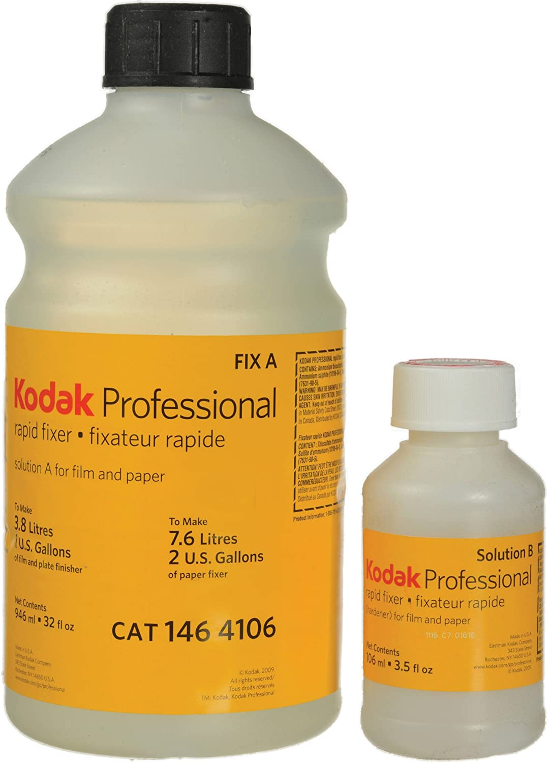 Kodak Rapid Fixer, 5160353 Solutions A & B for Black & White Film & Paper - Makes 1 Gallon for Film/ 2 Gallons for Paper 5160353
