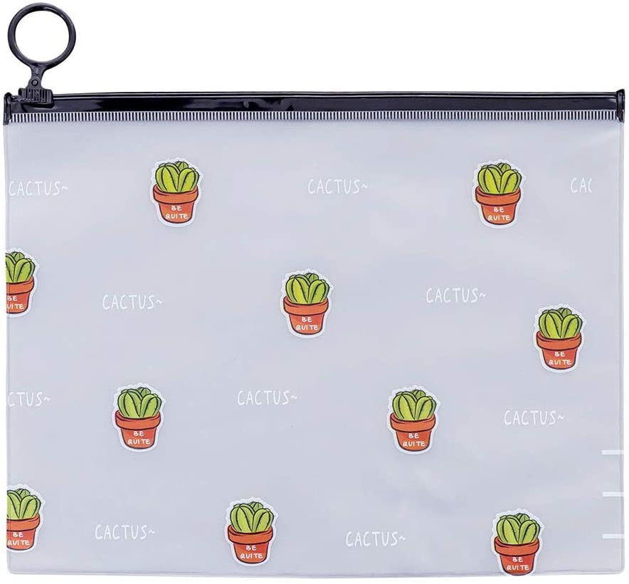 Exteren Cute Cactus Student Pencil Pen Case Cosmetic Pouch Pocket Brush Holder Makeup Bag Package Box (Clear)