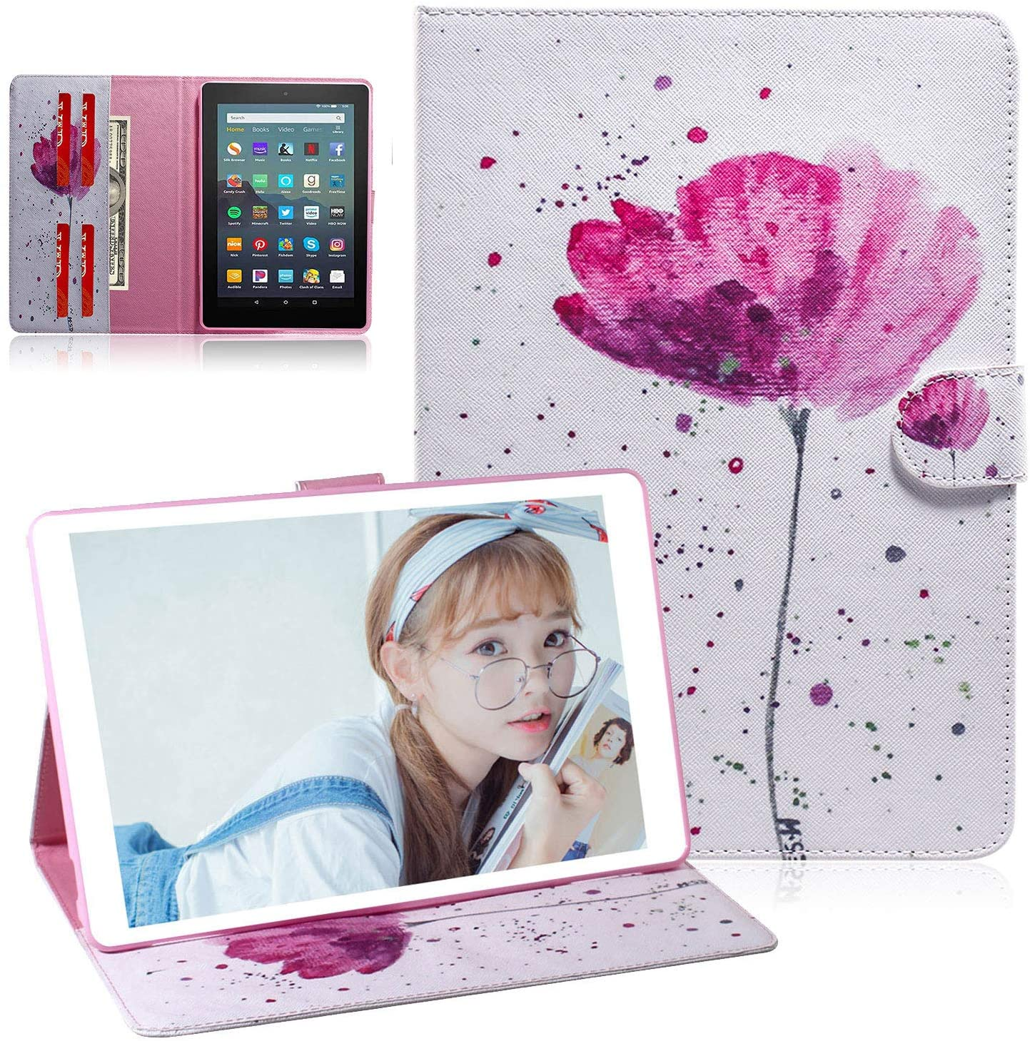 Case for DHgate Fire 7 inch case 2019/2017 Release -UGOcase Premium PU Leather Folding Folio Stand Wallet Case with Cards Holder for DHgate Kindle Fire 7 2019/2017, 9th/ 7th Generation, Orchid