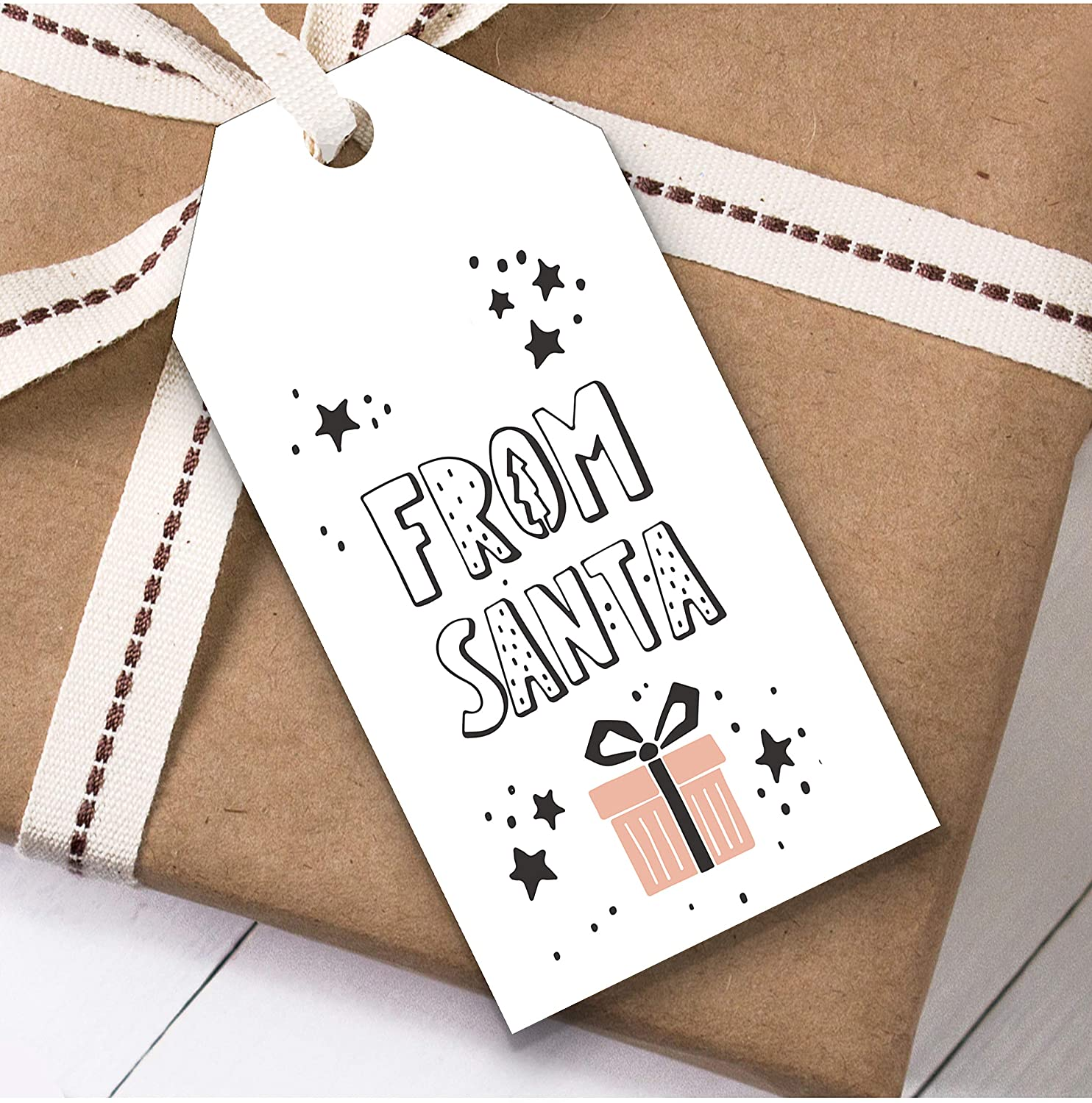 White from Santa Christmas Gift Tags (Present Favor Labels)