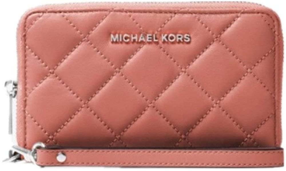 Michael Kors 32t6ttve9t jet set travel large quilted-leather smartphone wristlet