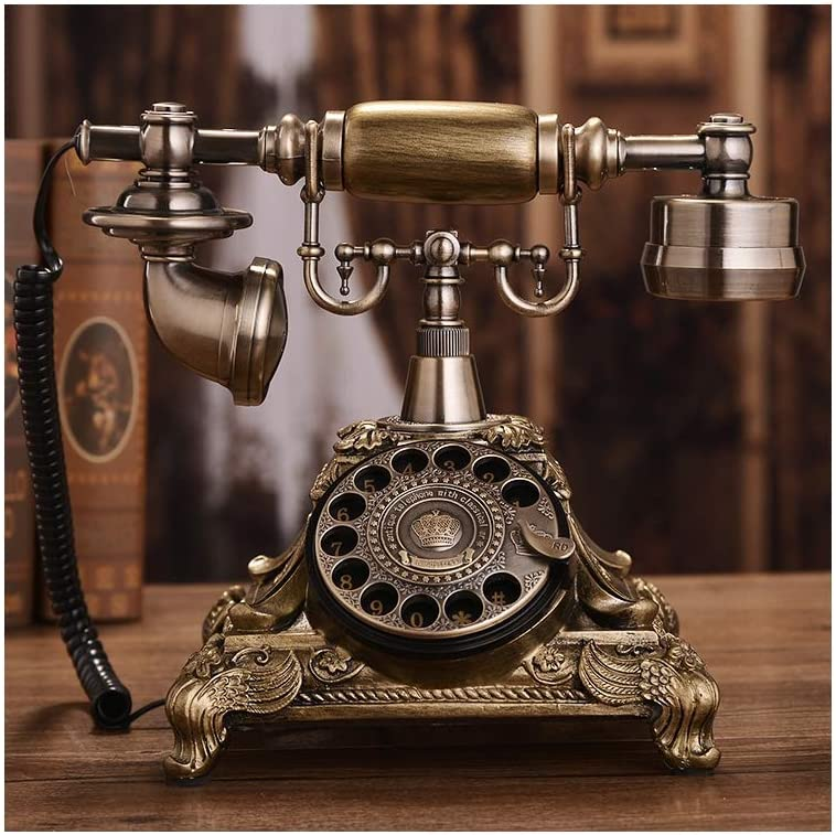 Retro Telephone Alloy and ABS Swivel Plate Rotary Dial Vintage Phone Landline Phone for Office Home Hotel,Bronze