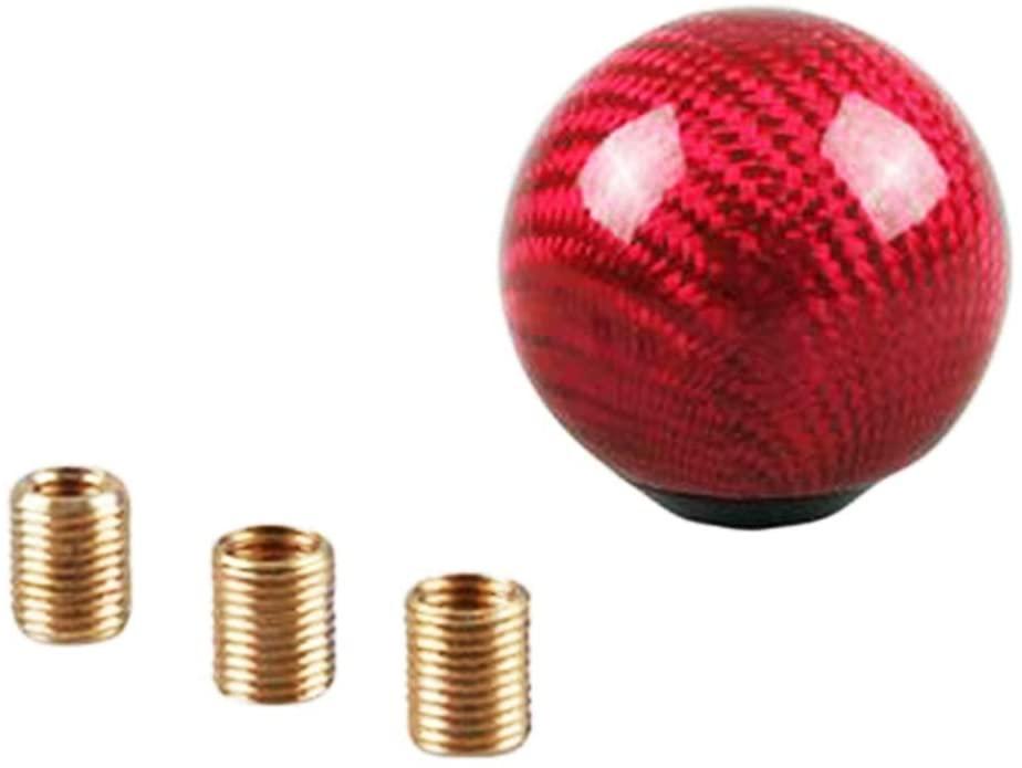 PSLER Universal Round Ball Shape Car Gear Shift Knob Shifter Lever Head (Red carbon fiber)
