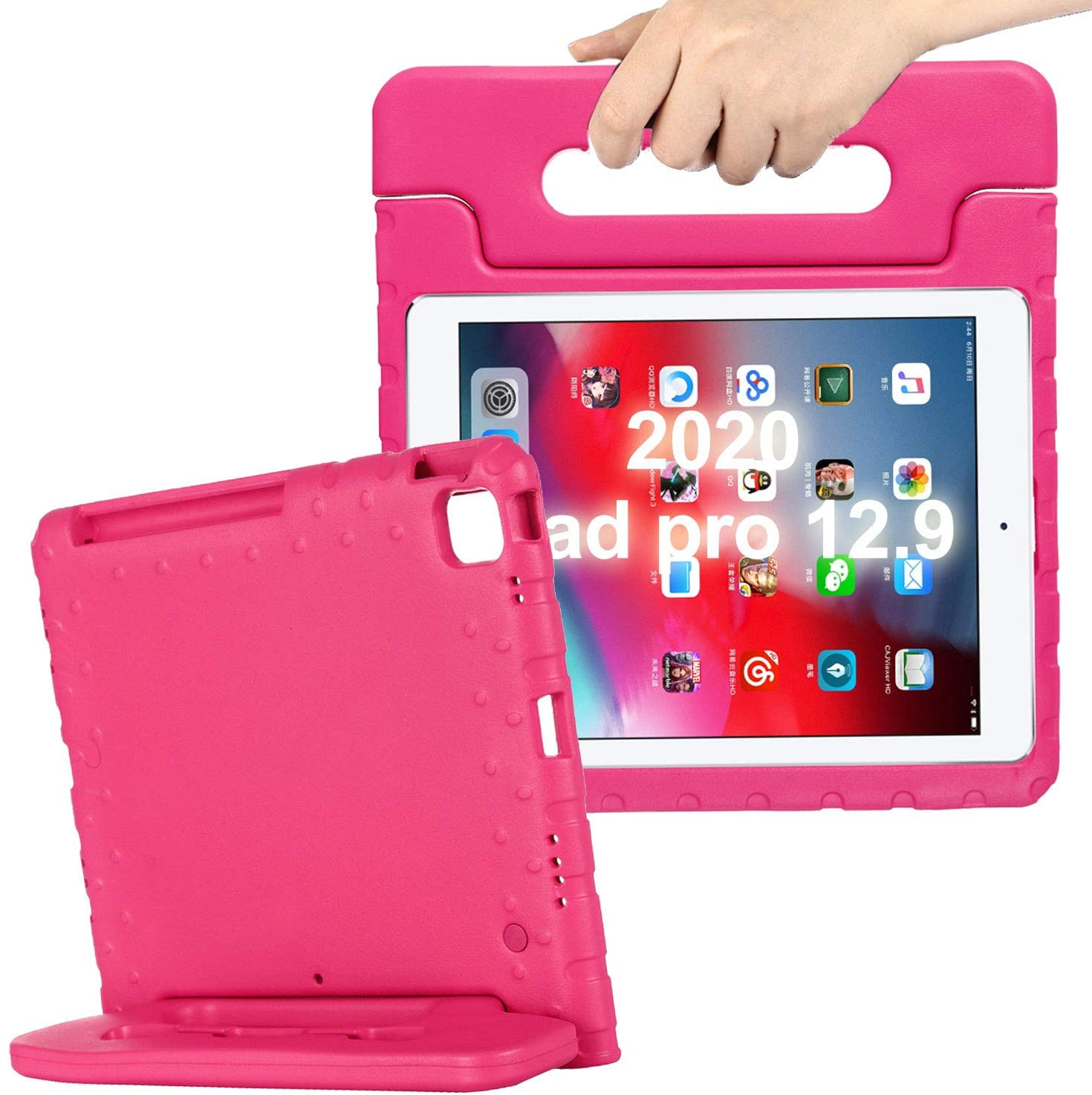 New iPad Pro 12.9 inch 4th Generation 2020 Case for Kids - Cookk Kiddie Series [Pencil Grove] [Handle & Kickstand] Light Weight Shockproof Boys Girls Protective Covers for 2020 iPad Pro 12.9
