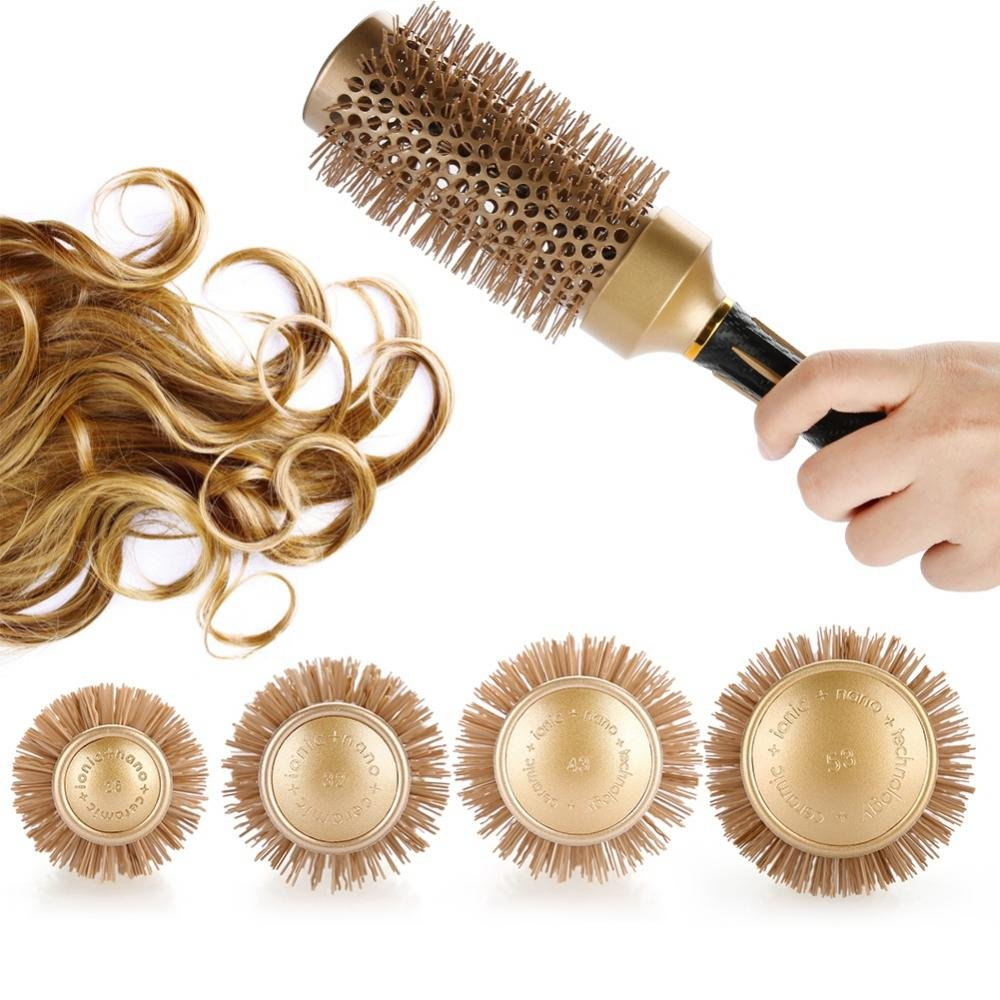 Anion Anti-static Hair Comb, Professional Ceramic No More Tangle Round Hair Brush for Salon Barber Styling Tools.(A1812-53)