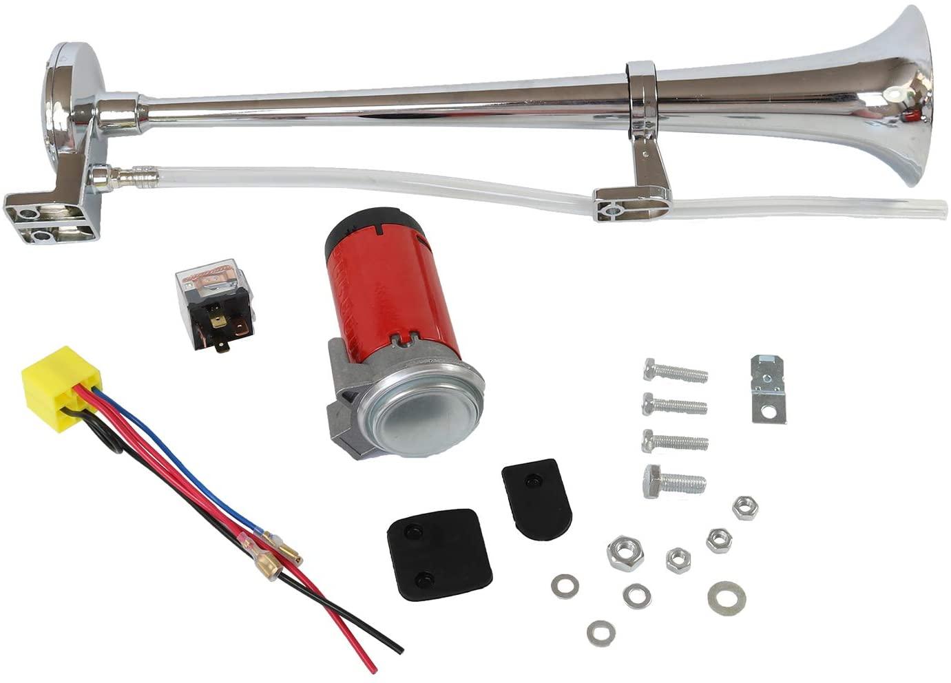 JDMSPEED New Single Trumpet Kit Air Horn Compressor Super Loud Car Lorry Boat 12V 150DB