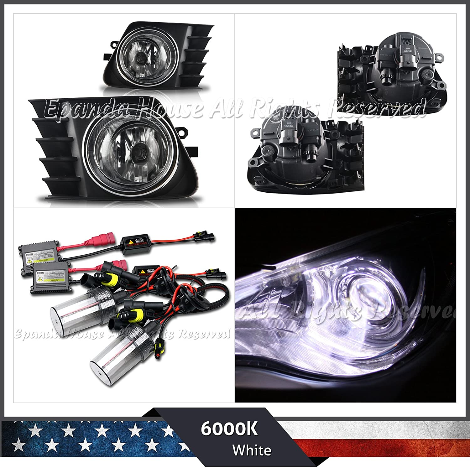 EpandaHouse Fog Lights Assemblies Made for 11-14 Toyota Prius V Clear Lens Assemblies+6000K White Ac HID Kit