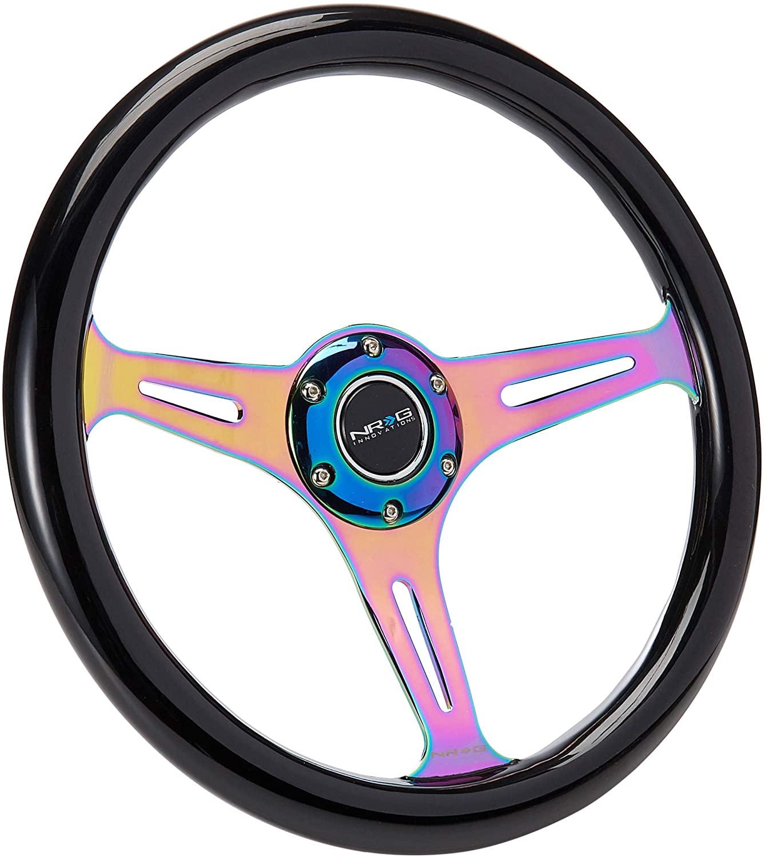 NRG Innovations ST-015MC-BK Classic Wood Grain Wheel (350mm 3 Neochrome spokes - Black Paint Grip)