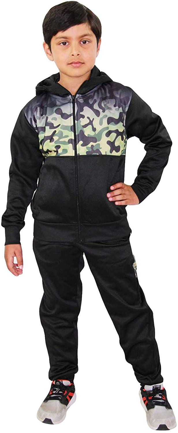 A2Z Kids Boys Girls Tracksuit Green Camouflage Panelled Hooded Top & Bottom Jog Suit
